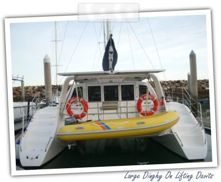 Large Dinghy On Lifting Davits